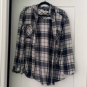 TNA Hooded Plaid Shirt